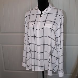 Pure White/Black Thin Long Sleeve Button Up Blouse